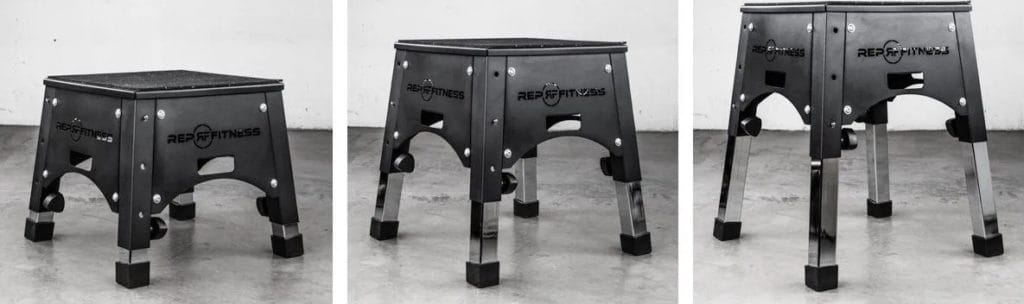Rep Fitness Adjustable Plyo Box different heights