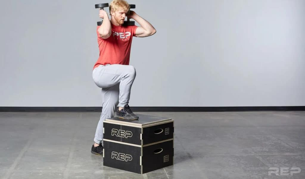 Rep Fitness Stackable Wood Plyos with dumbells