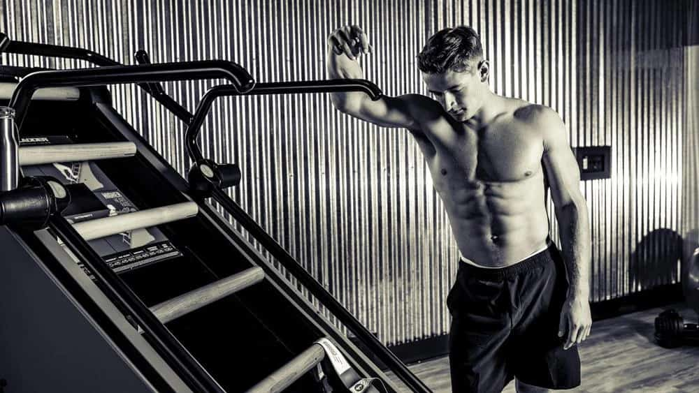 Rogue Fitness Jacobs Ladder X with a user