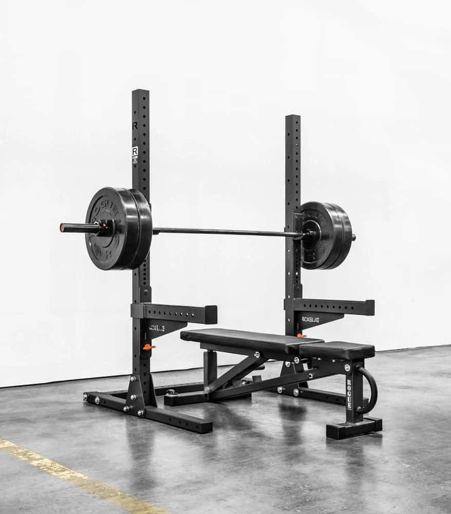 Rogue SML-1 Rogue 70 Monster Lite Squad Stand with barbell and bench