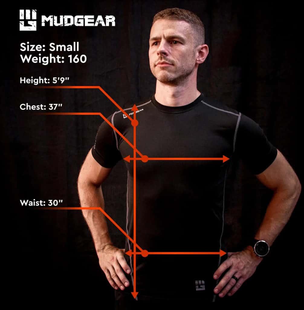 MudGear Mens Fitted Performance Shirt - Sleeveless (Black) measurement
