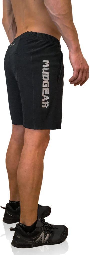 MudGear Mens Freestyle Running Shorts (Black) worn side view