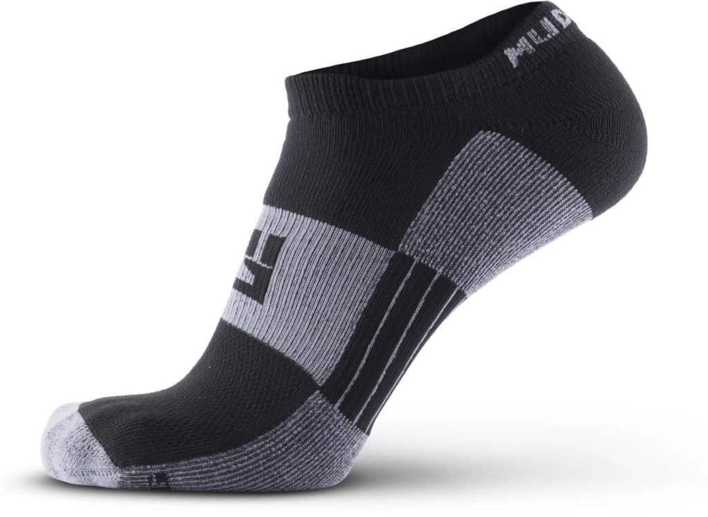 MudGear No-Show Running Socks - Black Gray side view left