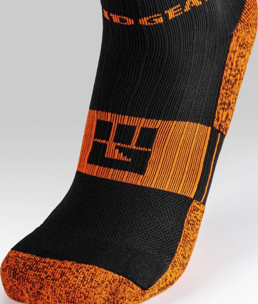 MudGear Tall Compression Socks Black Orange close up