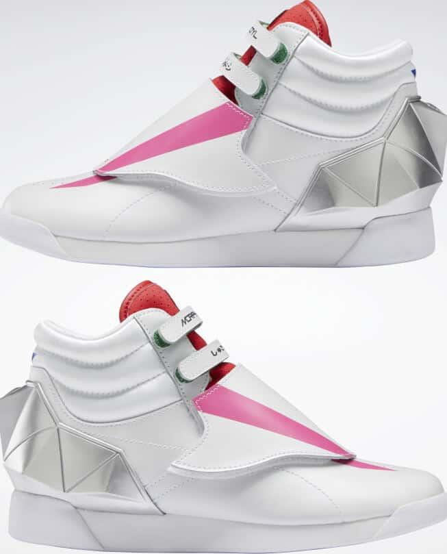 Reebok Power Rangers F S Hi Womens Shoes upside down pair