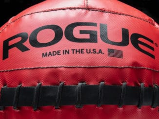 Rogue Fitness Color Medicine Balls red close up - made in the USA