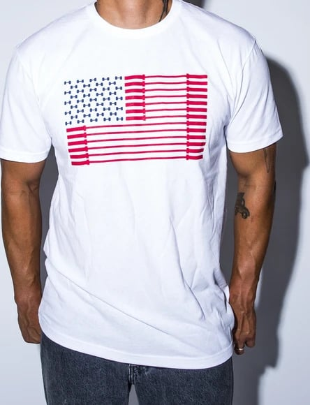 American Barbell Bar Spangled Banner - Tee main front worn