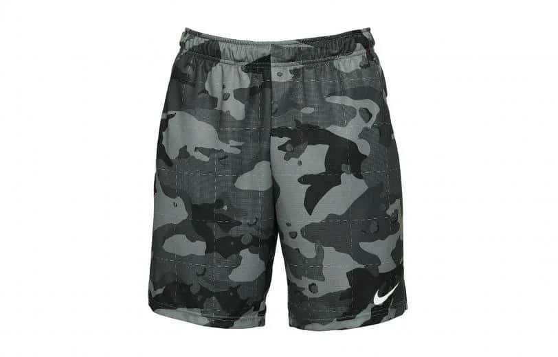 Nike Mens Dri-FIT Camo Shorts 5.0 smoke gray black full front