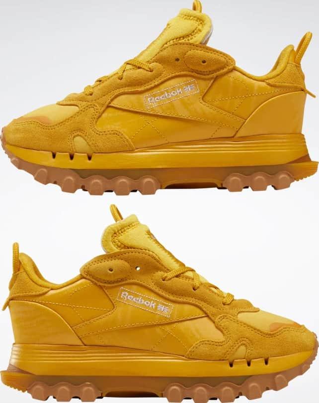 Reebok Cardi B Classic Leather Womens Shoes pair upside down
