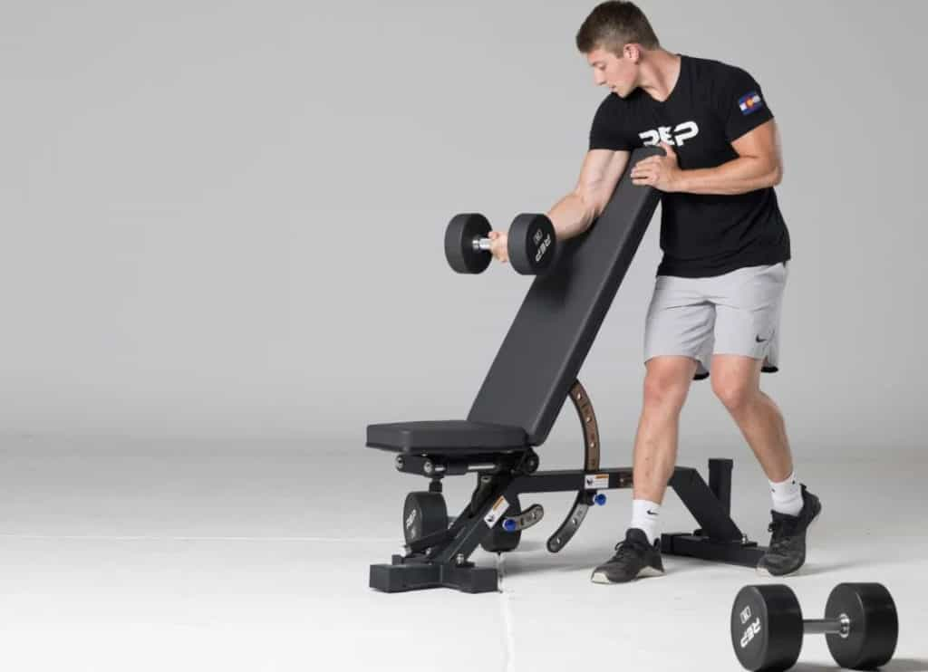 Rep Fitness AB-5000 Zero Gap Adjustable Bench Matte Black with a user 1