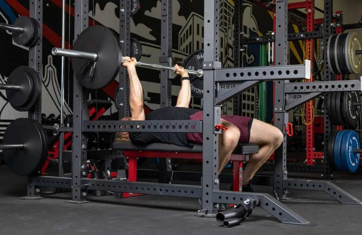 Rep Fitness FB-3000 Flat Bench with a user 1