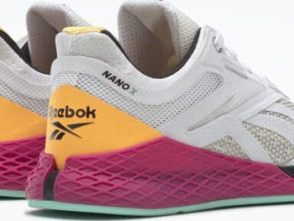 Reebok Nano X Womens Training Shoes Ftwr White Core Black Solar Gold back quarter view