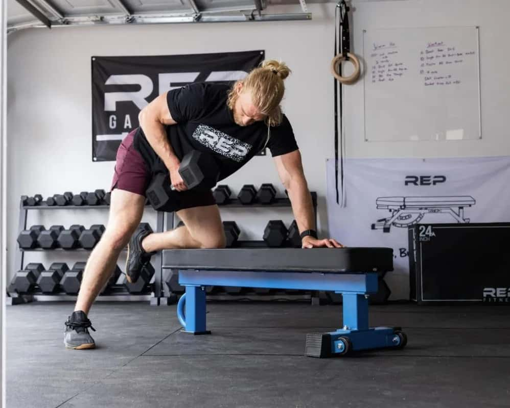 Rep Fitness FB-5000 Comp Flat Bench dumbbell