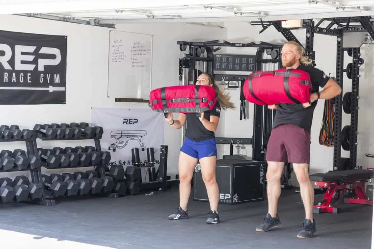 Rep Fitness Sand Bags carried