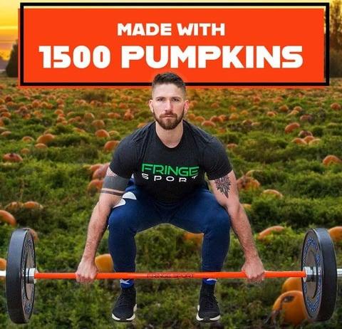Fringe Sport 20kg Pumpkin Spice Barbell with a lifter
