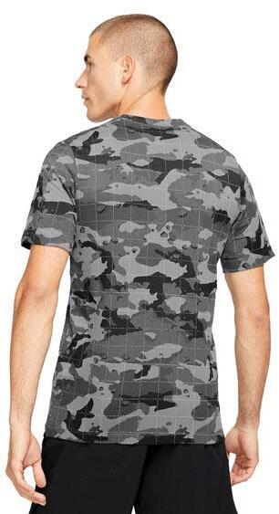 Nike Mens Dri-FIT Camo Training T-Shirt smoke gray back