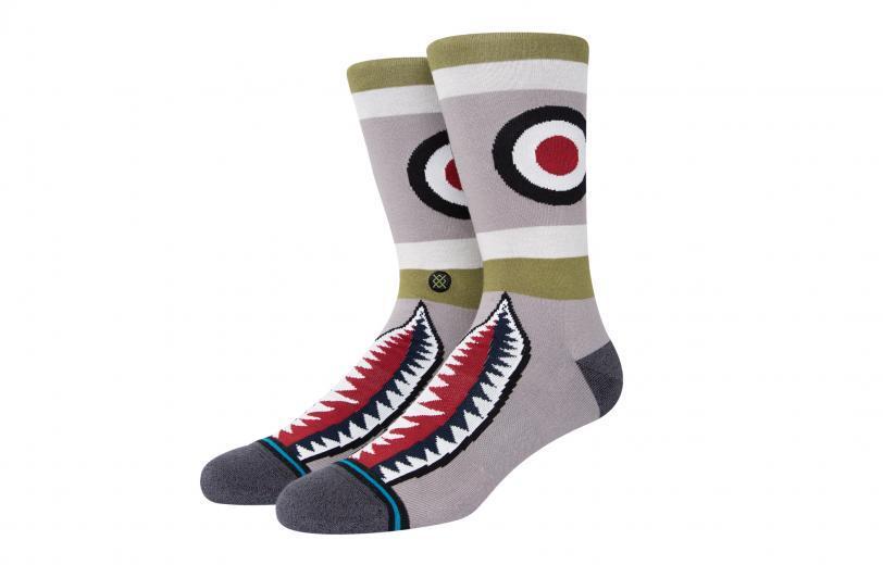 Rogue Stance Socks - Warbird Crew gray green red