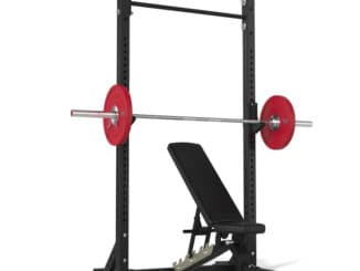 American Barbell Pull-Up Squat Stand with a bench chair