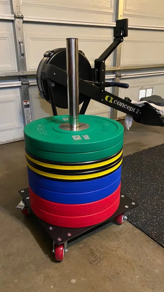 American Barbell Upright Rolling Bumper Storage with loads