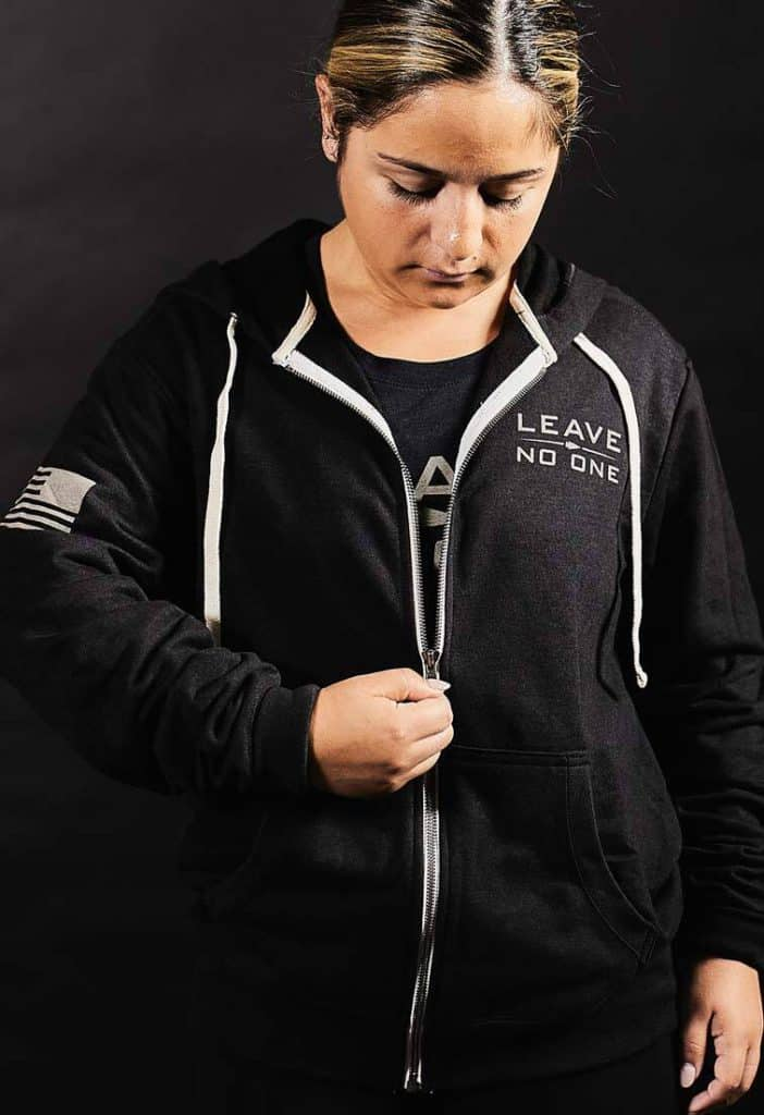 GORUCK Full Zip Hoodie - Leave No One worn female